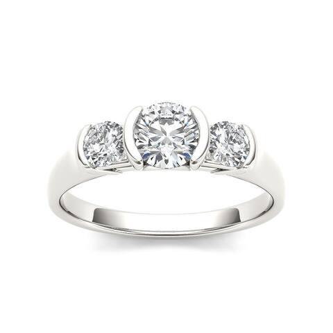De Couer 14k White Gold 1 1/4ct TDW Diamond Three Stone Anniversary Ring - White H-I