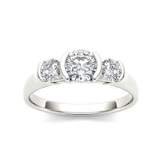 De Couer 14k White Gold 1 1/4ct TDW Diamond Three Stone Anniversary Ring (H-I, I2)