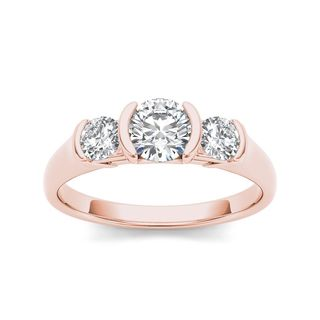 De Couer 14k Rose Gold 1 1/4ct TDW Diamond Three Stone Anniversary Ring (H-I, I2)