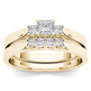 De Couer 14k Yellow Gold 1/2ct TDW Diamond Three-Stone Engagement Ring Set with One Band
