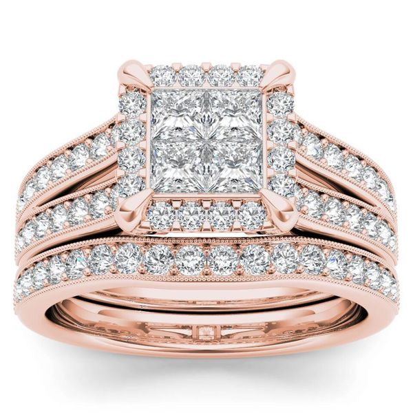 De Couer 14k Rose Gold 1 1/2ct TDW Diamond Halo Engagement Ring Set with One Band - Pink