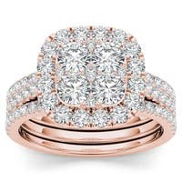 De Couer 14k Rose Gold 2ct TDW Diamond Halo Engagement Ring Set with Two Bands - Pink
