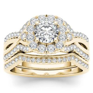 De Couer 14k Yellow Gold 1 1/4ct TDW Diamond Halo Engagement Ring Set with One Band