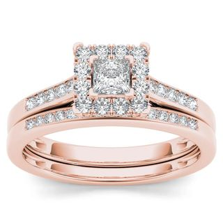 De Couer 10k Rose Gold 1/2ct TDW Diamond Halo Engagement Ring Set with One Band (H-I, I2)