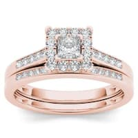 De Couer 10k Rose Gold 1/2ct TDW Diamond Halo Engagement Ring Set with One Band - Pink