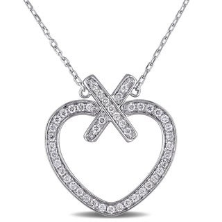Miadora Signature Collection 18k White Gold 3/8ct TDW Diamond Necklace (G-H, SI1-SI2)