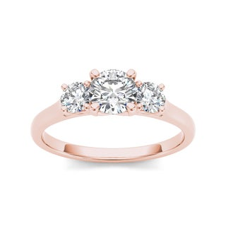 De Couer 14k Rose Gold 1 1/4ct TDW Diamond Three-Stone Anniversary Ring (H-I, I2)