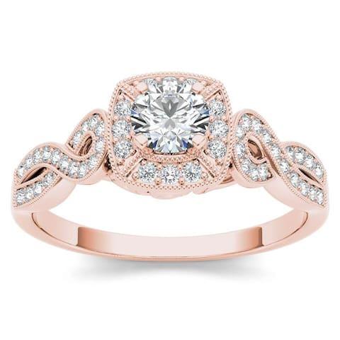 De Couer IGI Certified 14k Rose Gold 1/2ct TDW Diamond Halo Engagement Ring - Pink