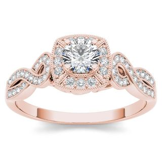 De Couer 14k Rose Gold 1/2ct TDW Diamond Halo Engagement Ring (H-I, I2)