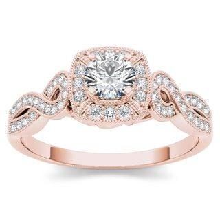 De Couer IGI Certified 14k Rose Gold 1 2ct TDW Diamond Halo Engagement Ring Pink