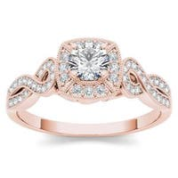De Couer 14k Rose Gold 1/2ct TDW Diamond Halo Engagement Ring - Pink