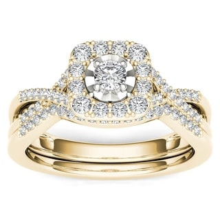 De Couer 10k Yellow Gold 3/8ct TDW Diamond Halo Engagement Ring Set with One Band (H-I, I2)