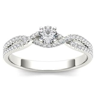 De Couer 10k White Gold 2/5ct TDW Diamond Classic Split-Shank Engagement Ring - White H-I