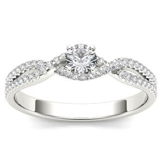 De Couer 10k White Gold 3/8ct TDW Diamond Classic Split-Shank Engagement Ring (H-I, I2)