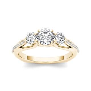 De Couer 14k Yellow Gold 1 1/2ct TDW Diamond Three-Stone Anniversary Ring (H-I, I2)