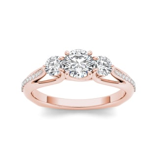 De Couer 14k Rose Gold 1 1/2ct TDW Diamond Three-Stone Anniversary Ring
