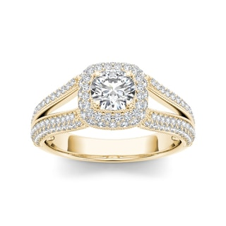 De Couer 14k Yellow Gold 1 1/2ct TDW Diamond Double Halo Split-Shank Engagement Ring