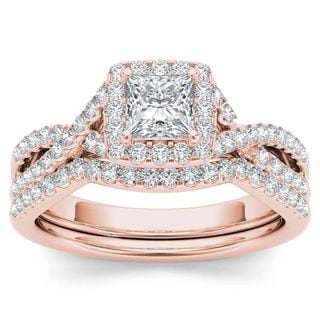 De Couer 14k Rose Gold 1ct TDW Diamond Criss-Cross Halo Engagement Ring Set with One Band