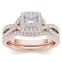 De Couer 14k Rose Gold 1ct TDW Diamond Criss-Cross Halo Engagement Ring Set with One Band - White