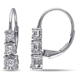 Miadora 10k White Gold 1/5ct TDW Diamond Dangle Earrings (G-H, I2-I3)
