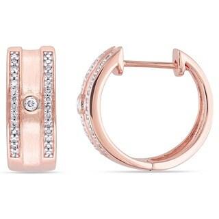 Miadora 10k Rose Gold 1/5ct TDW Diamond Hoop Earrings