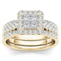 De Couer  IGI Certified 14k Yellow Gold 1 1/4ct TDW Diamond Halo Engagement Ring Set with Two Bands