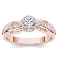 De Couer 10k Rose Gold 1/2ct TDW Diamond Classic Bypass Engagement Ring - Pink