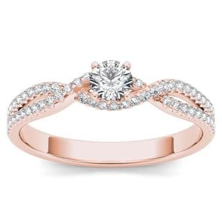 De Couer 10k Rose Gold 2/5ct TDW Diamond Classic Split-Shank Engagement Ring - Pink