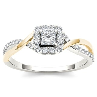De Couer 10k Yellow Two-Tone White Gold 1/2ct TDW Diamond Classic Criss-Cross Engagement Ring