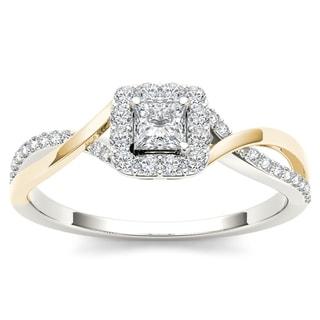 De Couer IGI Certified 10k Yellow Two Tone White Gold 1 2ct TDW Diamond Classic Criss Cross Engagement Ring
