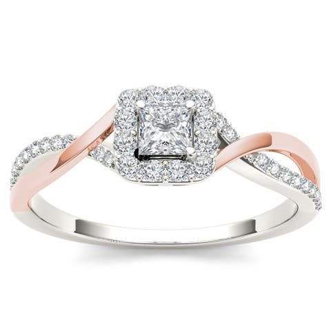 De Couer IGI Certified 10k Pink Two-Tone White Gold 1/2ct TDW Diamond Classic Criss-Cross Engagement Ring