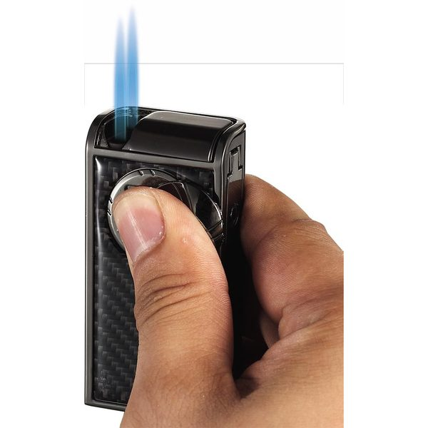 Visol Infinity Gunmetal Carbon Fiber Double Jet Cigar Lighter