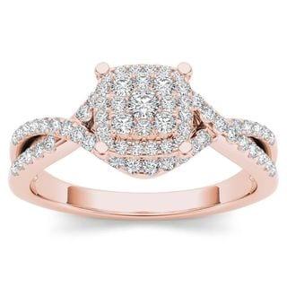De Couer 10k Rose Gold 1/2ct TDW Diamond Cluster Engagement Ring