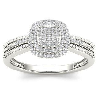 De Couer 10k White Gold 1/5ct TDW Diamond Halo Engagement Ring (H-I, I2)