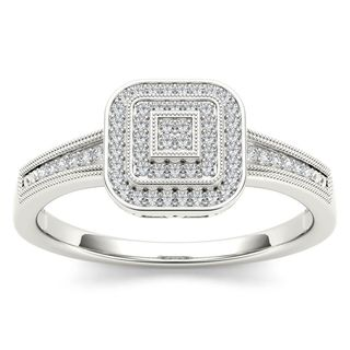 De Couer 10k White Gold 1/6ct TDW Diamond Double Halo Engagement Ring