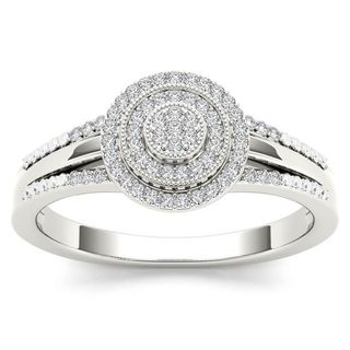 De Couer 10k White Gold 1/6ct TDW Diamond Halo Engagement Ring - White H-I