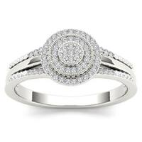 De Couer  IGI Certified 10k White Gold 1/6ct TDW Diamond Halo Engagement Ring - White H-I
