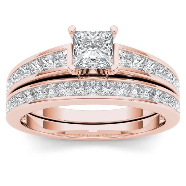 De Couer 14k Rose Gold 1 1/2ct TDW Diamond Classic Engagement Ring Set with One Band - Pink