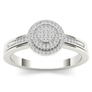 De Couer 10k White Gold 1/6ct TDW Diamond Halo Engagement Ring