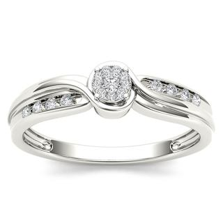 De Couer 10k White Gold 1/10ct TDW Diamond Bypass Cluster Engagement Ring - White H-I