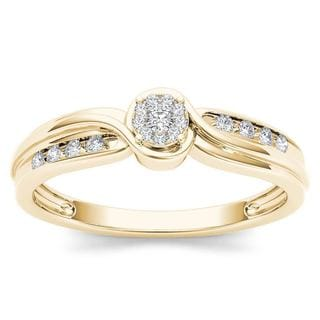 De Couer 10k Yellow Gold 1/10ct TDW Diamond Bypass Cluster Engagement Ring