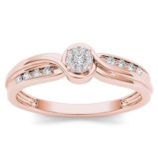 De Couer 10k Rose Gold 1/10ct TDW Diamond Bypass Cluster Engagement Ring - Pink
