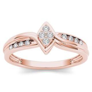 De Couer 10k Rose Gold 1/10ct TDW Diamond Cluster Engagement Ring