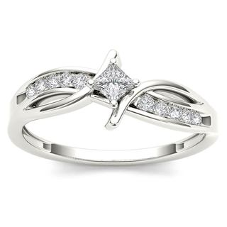 De Couer 10k White Gold 1/4ct TDW Diamond Bypass Engagement Ring