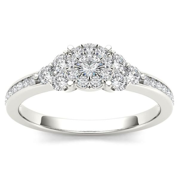 De Couer IGI Certified 10k White Gold 1/2ct TDW Diamond Three-Stone Look Halo Engagement Ring - White H-I