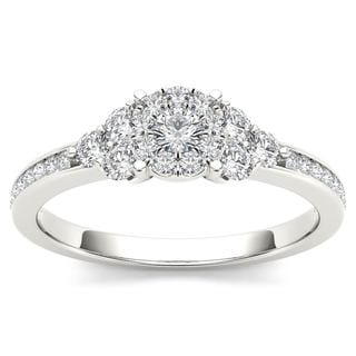 De Couer 10k White Gold 1/2ct TDW Diamond Three-Stone Look Halo Engagement Ring - White H-I
