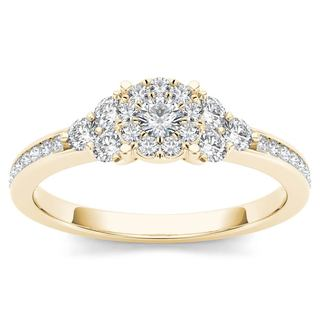 De Couer 10k Yellow Gold 1/2ct TDW Diamond Three-Stone Look Halo Engagement Ring