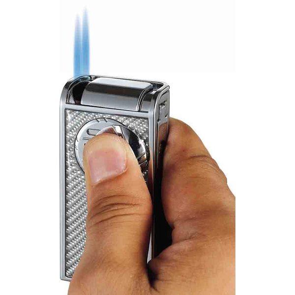 Visol Infinity White Carbon Fiber Chrome Double Jet Cigar Lighter
