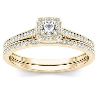 De Couer 10k Yellow Gold 1/3ct TDW Diamond Halo Engagement Ring with One Band (H-I, I2)
