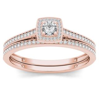 De Couer 10k Rose Gold 1/3ct TDW Diamond Halo Engagement Ring with One Band